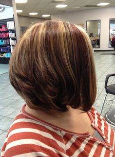 Choosing a layered haircut like a bob can get your neck and shoulders free. If you like to style a little edgy, punk look, you can choose to hold your bangs to the sides. With bob hairstyles, you do not need to worry about styling your hair. Accompany a stacked bob with an inverted bob
