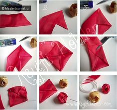folded ribbon Fabric flowers tutorial ~ Home Decorating Ideas