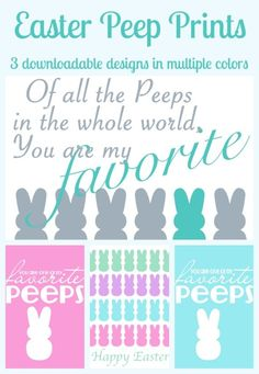 Easter Peep Printables - Come see a fun and colorful collection of free printables around the popular Easter Peeps! Perfect for holiday decor, cards, or gift tags!{The Love Nerds} #easterprint #peepprint #holidaydecor