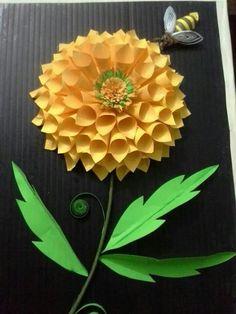 kağıt işleri, لف الورق, card craft, quill flower, paper art
