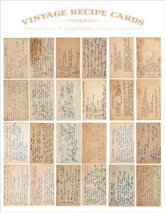Free printable - vintage recipe cards