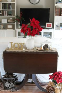 Natural Christmas Sofa Table Vignette