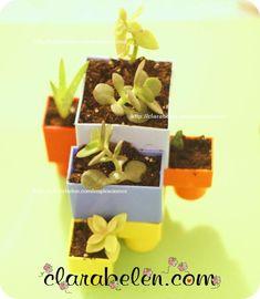 Reciclar juguetes: Macetas hechas con bloques o ladrillos de construcción - Inspiraciones: manualidades y reciclaje