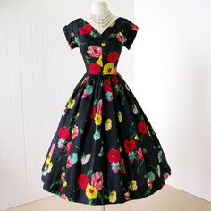vintage 1950's dress ...stunning REMBRANDT black silk by traven7