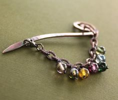 Shawl pin stick scarf pin with multicolored dangles by IngoDesign, $32.00 - would look great DIY with some of dakota stones small rounds - #diy www.dakotastones.com