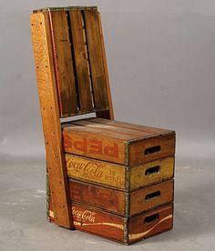 vintage chairs, coca cola, vintage bottles, seat, pallet