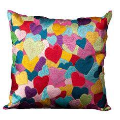 cotton, idea, colors, multicolor heart, cushion, beads, heart pillow, pillows, ella pillow