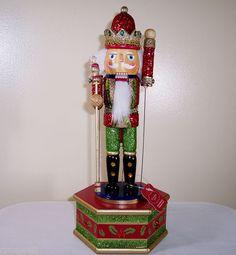 "New St Nicholas Square 12""Christmas Wooden Wind Up Musical Music Box Nutcracker | eBay"