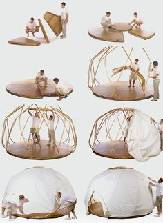 Making a yurt! Sooooo.....this is pretty awesome for a fantasy LARP!! You could even paint the outside!