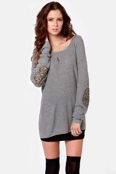 Cute Grey Sweater - Sequin Sweater - Elbow Patch Sweater - $51.00 - perfect with tights for christmas morning. comfy but still cute in every picture !! #lulusholiday