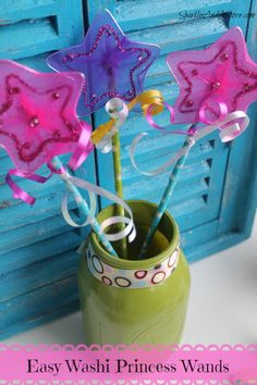 Easy Kids Craft Washi Princess Wands by Sparkles And A Stove fun family craft or easy party favors