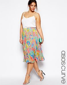 ASOS CURVE Pleated Midi Skirt In Bright Floral Print