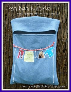 Peg Bag Tutorial- use one similiar to this in my sewing room to hold flash drives and my compact external hard drive