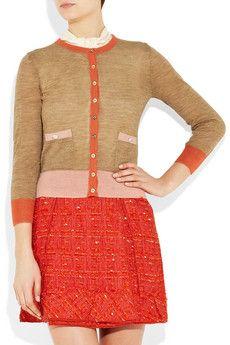 orange skirt + cardigan