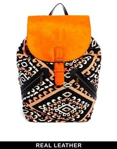 ASOS Leather Pony And Weave Backpack