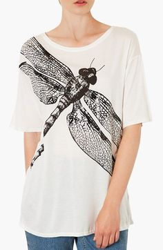 Topshop Oversized Dragonfly Print Tee | Nordstrom