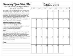 FREE PRINTABLE Come Follow Me Calendars for Young Women Leaders Here are some calendars I made for our Young Women Leaders, the calendar is a bit small, just just write with a pencil and write small and it should work fine. So far it is working great for us.