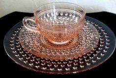 """VTG Anchor Hocking Glass Hobnail Pink Depression Trio-Cup-Saucer-8 1/2"""" Plate K"""