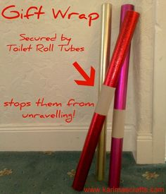Cut toilet paper or paper towel rolls and put over wrapping paper to keep from unraveling.