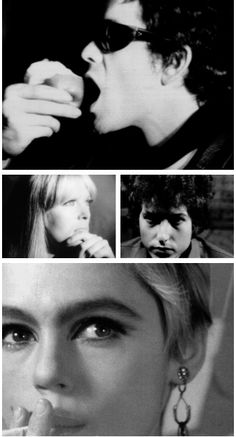 Lou Reed, Nico, Bob Dylan, and Edie Sedgwick in Andy Warhol's Screen Tests, 1966.