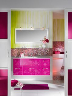What a cool pink vanity. Love the irridescent backsplash.  A teen girls dream! My home in the future.. Hell yeah