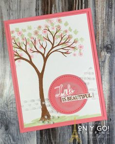 Create a spring card with the new Life is Beautiful stamp set from Stampin' Up! by stamping the leaves with a pale green and adding stars as pink flowers. // Stampin' Up! // Life is Beautiful // Trees // Cardmaking // Card Ideas // Rubber Stamping // CAS // Clean and Simple // Simple Stamping // #stampinup #cardmaking #lifeisbeautiful #trees #cardmaking #cardideas #cardinspiration #rubberstamping #simplestamping #CAS #cleanandsimple