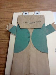 craft, paper bag puppets, paper bags, frog, brown bags, kindergarten blogs, book series, first grade, construction paper