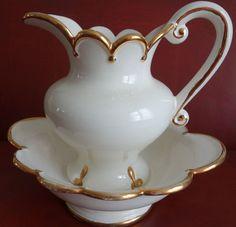 Antique Ceramic Pitcher Bowl Set White Gold Color Trim Scalloped Edge.