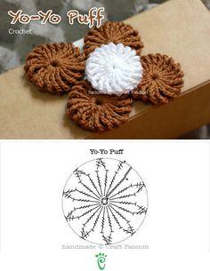 Yo-Yo Puff. ☀CQ #crochet #crochetflowers  http://www.pinterest.com/CoronaQueen/crochet-leaves-and-flowers-corona/