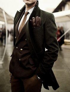 ♂ Masculine and Elegance mans' fashion apparel dark olive brown winter wear #gentleman #style