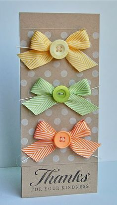 Buttons and Bows in lemon, lime and orange colors are perfect on this kraft-based handmade thank you card.