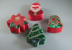 Sequined Beaded Christmas Gift Box Ornament // by UBlinkItsGone, $20.00