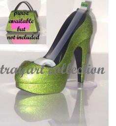 Green sparkle High Heel Stiletto Platform Shoe TAPE DISPENSER office supplies - trayart collection. $25.00, via Etsy.