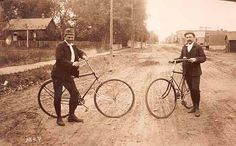 Two Men on Bikes on West Pearl Street - (1892) REPRODUCTIONS