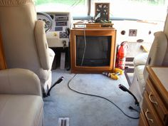 Motorhome - Living room floor Before - yucky old blue carpet to go with the ugly blue flowers!