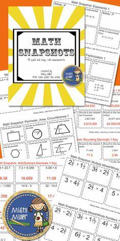 Math Snapshots 40 Quick Math Assessments $ Grades5-8  #math #assessment #tpt #exitticket