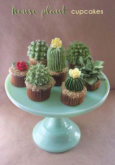 Cactus and succulent cupcakes