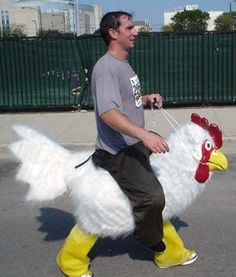 Chicken marathon costume.
