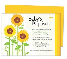 Sunflowers Baby Baptism Invitation Templates editable with Word, Publisher, Apple iWork Pages, OpenOffice. Print yourself or take anywhere to get printed!