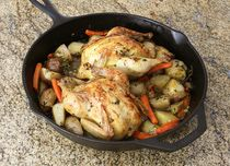 Roasted Game Hens with Potatoes and Carrots