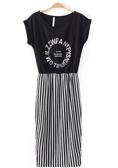 Black Monogram Striped Patchwork Print Wrap Chiffon Dress