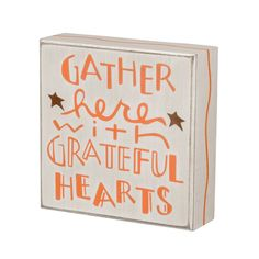 Fall Wooden Sign: Gather Here with Grateful Hearts