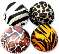 100 Zoo Baking Cups Cupcake Liners Zebra Giraffe Tiger Leopard Pattern - perfect for zoo or safari themed birthday party or event