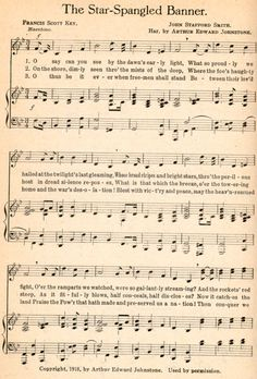 The Star-Spangled Banner by Francis Scott Key (written in 1814) Happy 200th Birthday!!!
