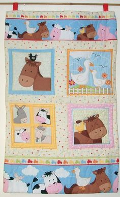 Farm Animals Quilted Wall Hanging and FREE matching cushion. $71