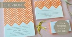 Chevron Letterpress Wedding Invitations by Delphine. Everyone loves chevron these days, amirite?!?