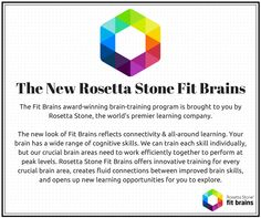 Introducing the new #RosettaStone Fit Brains, the world's best #brain training program! Improve your brain performance, Try #FitBrains for #Free: http://taps.io/fitbrains