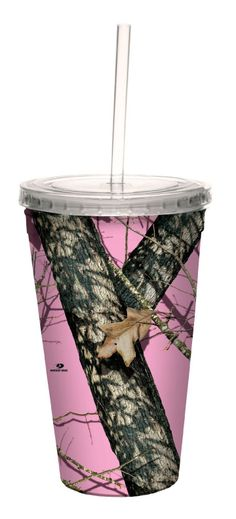 16-Ounce Reusable Mossy Oak Camo cup in Pink Break Up