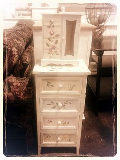 handpainted smal chest and jewelry box. CUTE!