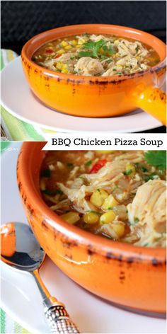BBQ Chicken Pizza Soup!  10 minutes and dinner is done!  Family favorite!